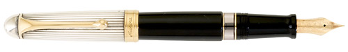 Sterling Cap/Black Barrel finish - Large Fountain Pen shown