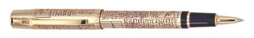 Aurora Limited Editions - Leonardo da Vinci - Year: 2002 - Gold-Plate  - Edition: 1,919 Fountain Pens / 499 Rollerballs - Rollerball