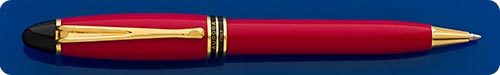 Aurora Red Ipsilon Ball Pen - Cap Activated - Gold Plated Trim