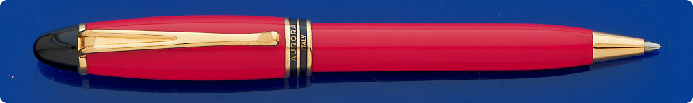 Aurora Ipsilon Classic Red Ball Pen - Gold Plated Trim - Cap Activated