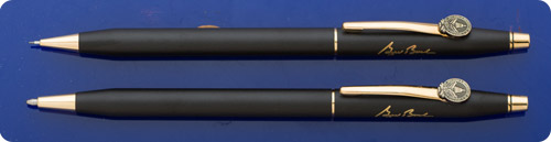 Cross George Bush Inauguration Matte Black Ball Pen & Mechanical Pencil - Pres. Bush Facsimile Signature On Cap - Inauguration Emblem On Clip