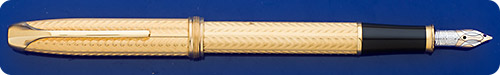 Cross Gold Plated Pinnacle Fountain Pen - Chevron Design - Cartridge/Converter Fill - Converter Included