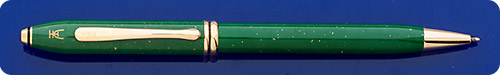 Cross  Jade Green Special Edition Ball Pen - Gold Flecks - Gold Plated Trim - Twist Action