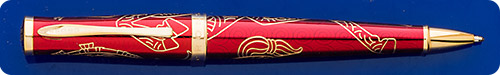 Cross Year Of The Rooster Townsend Ball Pen - Metallic Red Lacquer/Gold Plated Engraving - Twist Activated