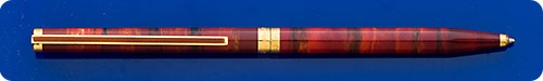 Dupont Classic Slender Ball Pen - Variegated Tuscan Red/Rust Chinese Lacquer Horizontal Streaks Encircling The Pen Body - Twist Activated
