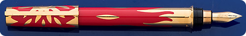 Dupont Montparnasse Rendezvous Soleil/Sun Fountain Pen Limited Edition #444/2000  - Red Chinese Lacquer/Gold Vermeil Accents - Sun Motif - Cartridge/Converter Fill - Converter Included