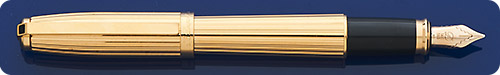 Dupont Fidelio Fountain Pen - Gold-Plated Fluted Design - Cartridge/Converter Fill - Converter Included
