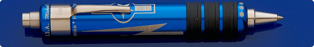 Fat Boy World War II Hellcat Fighter Ball Pen - Blue Aluminum With Silver Graphics - Button Top Activated