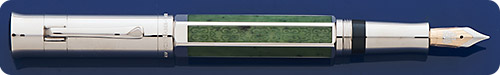 Graf Von Faber Castell 2011 Pen Of The Year - Barrel Framed  In 8 Panels Of Green Russian Jade, One With A Chiseled Design - Facetted Jade Gemstones Inset Into Cap Top & Barrel End - Piston Fill