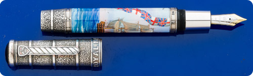 Krone Royal Navy Limited Edition Fountain Pen  - Hand Painted Barrel - Sterling Silver Cap & Trim - #18/388  -Piston Fill