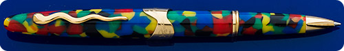 Lepine Samba Rollerball With A Fun Resin Of Multi-colored Blotches - Long Model - Gold Plated Trim