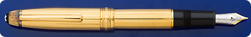 Montblanc Gold Vermeil 147VP LeGrand Fountain Pen - Gold Plating Over Sterling Silver - Etched Fluted Design - Traveler/Cartridge Fill Only - Tarnish Shown In Image Has Been Removed
