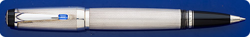 Montblanc Boheme Rollerball - Sterling Silver Barleycorn Design - Blue Sapphire Stone In Clip