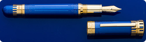 Montblanc Ludovico Sforza Patron Of Art Limited Edition 888 Fountain Pen - Blue Translucent Lacquered Cap And Body  - Fittings Of 18kt Gold  -Montblanc Snow Cap Emblem In Mother Of Pearl  -Piston Fill