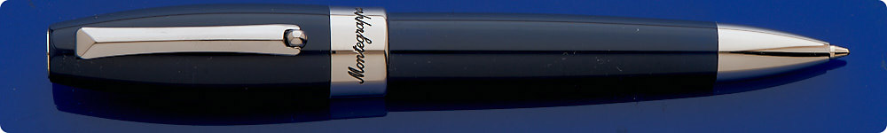 Montegrappa Fortuna Ball Pen - Navy Blue/Palladium Plated Trim - Twist Activated