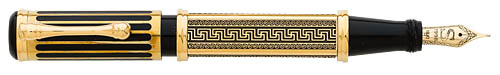 Santini Italia Athens Ltd Ed Fountain Pen - Gold Vermeil Overlay (Gold Plating Over Sterling Silver)  - Column Filigree On Cap/Greek Key Design On 4-Sided Barrel - Cartridge/Converter Fill-Converter I