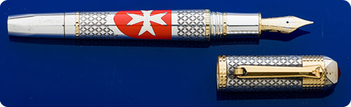 Tibaldi Military Order Of Malta - Sterling Silver/Gold Vermeil - Etched Pattern Reproducing Coat Of Mail In Medieval Armor - Hand Painted Maltese Cross  - Piston Fill