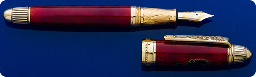 Michel Perchin Russian Eagle Fountain Pen - Limited Edition #12/88 - Guilloched Sterling Silver Overlain With Red Enamel - Black Russian Eagle Crest On Cap - Cartridge/Converter Fill (Included)