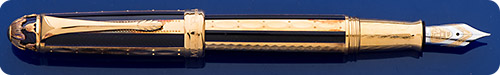 Michel Perchin Black Enamel & Gold Vermeil (Gold Plating Over Sterling Silver) Limited Edition Fountain Pen - #69/4321 - Cartridge/Converter Fill - Converter Included