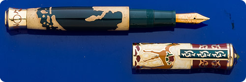 Omas Silk Way Limited Edition Fountain Pen #413/1000  -Commemorating The Trade Route That Silk Travelled From China Throughout The World Via Camel Caravans - Solid Sterling Silver Overlain With Enamel