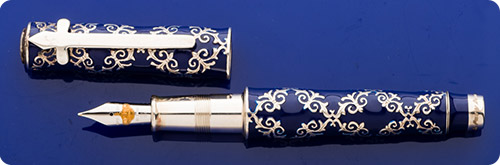 Omas Spanish Royal Family Limited Edition Fountain Pen - #153/300 - Honors 30 Years Of Peace Under An Enlightened King - Bourbon Blue Enamel Body With Sterling Silver Filigree & Trim - Piston Fill