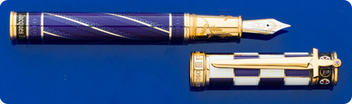 David Oscarson Jacques De Molay Special Limited Edition Fountain Pen  -Purple & White Enameling Over Sterling Silver - Gold Vermeil Trim  -Cartridge/Converter Fill - Converter Included