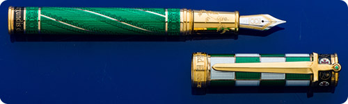 David Oscarson Jacques De Molay *Very* Limited Edition Fountain Pen - #11/13 - Sterling Silver Guilloched Fountain Pen-Green/White Checkerboard Enamelling-Gold Vermeil Trim-Cartridge/Converter(incl)
