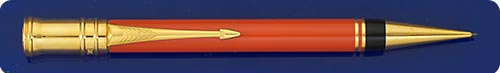 Parker Duofold Orange Mechanical Pencil - 0.9mm Lead - Gold Plated Trim - Twist Activated