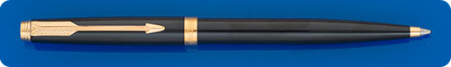 Parker #75 Black Lacque Ball Pen - Cap Actuated - Made In France