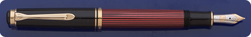 Pelikan Souveran M600 Fountain Pen - Red Striped Barrel - Piston Fill - No Longer Produced