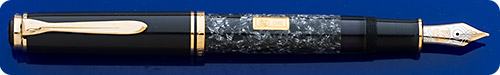 Pelikan Wall Street Limited Edition Fountain Pen  - Gray Cap/Gray Marbled Barrel - Gold Plated Trim - 24kt Gold *Ingot* On Barrel - Piston Fill - #1261/4500