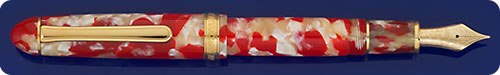 Platinum Red & Pearl (Koi) Celluloid #3776 Fountain Pen - Cartridge/Converter Fill - Converter Included