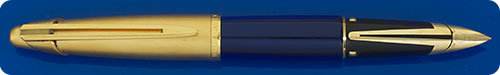 Waterman Edson Blue Translucent Fountain Pen - Matte Gold Plated Cap - Cartridge/Converter Fill - Converter Included - Small Indent On Cap Top