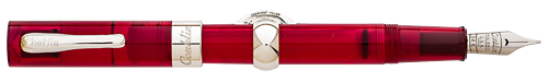 Conklin Limited Editions - Mark Twain Crescent Demonstrator - Year: 2017 - Red/Silver - Edition: 98 Pens - Fountain Pen