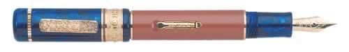 Delta Limited Editions - Corona de Aragon Special - Year: 2002 - Terracotta & Blue Pearl Resin/Vermeil - Edition: 864 Pens Worldwide - Fountain Pen (Lever Fill)
