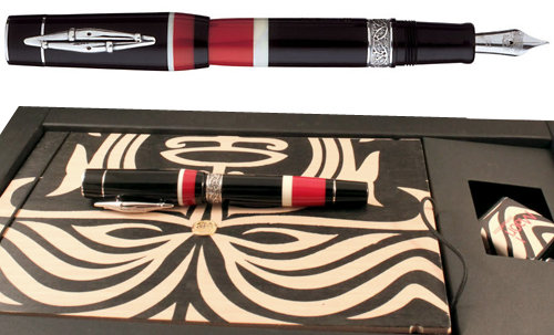 Delta Limited Editions - Indigenous People - Maori - Year: 2004 - Silver Trim   - Edition: 1642 of each  - Fountain Pen (Cartridge/Converter)-18 Kt Gold Nib