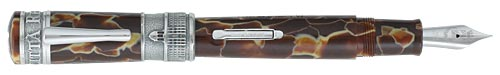 Delta Limited Editions - La Citta Reale - Year: 2006 - Celluloid/Silver Trim - Edition: 750 of each - Fountain Pen (Lever Fill)-18 Kt Gold Nib