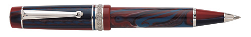 Red/Blue Resin/Sterling Trim  finish - Ball Pen shown