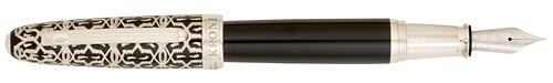 Sterling Silver - Black Lacquer finish - Fountain Pen (18kt Nib) shown