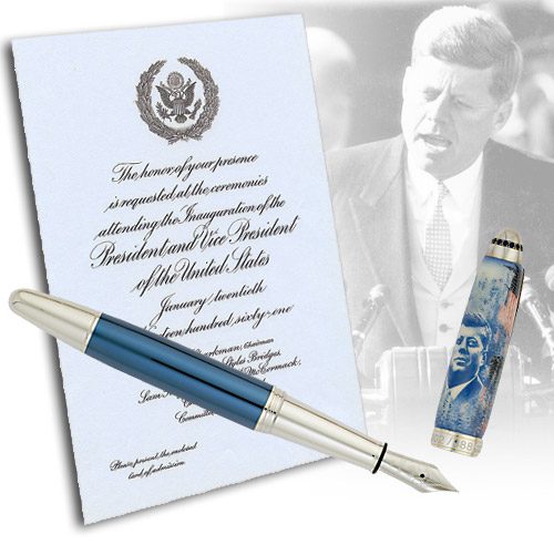 Krone Limited Editions - John F. Kennedy - Year: 2011 - Sterling Silver/15 Sapphires/Lacquer - Edition: 388 Fountain Pens - Fountain Pen