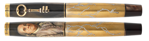 Krone Limited Editions - Benjamin Franklin - Year: 2016 - Hand Painted   (IN STOCK) - Edition: 38 Rollerballs - Rollerball
