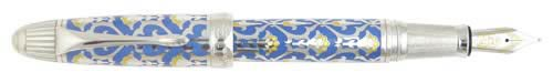 Michel Perchin Limited Editions - The Persian - Year: 2002 - Blue Enamel/Sterling - Edition: 88 Fountain Pens and Rollerballs Combined - Fountain Pen