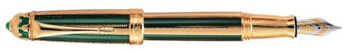 Michel Perchin Limited Editions - Green and Gold - Year: 1996 - Edition: 500 Pens - Fountain Pen and Rollerball