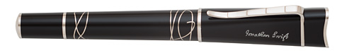 Montblanc Limited Editions - Jonathan Swift Writers Edition  - Year: 2012 - Black/Silver   - Edition: 8,800 Rollerballs - Rollerball