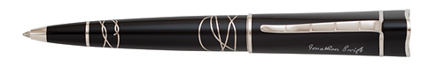 Montblanc Limited Editions - Jonathan Swift Writers Edition  - Year: 2012 - Black/Silver  - Edition: 14,600 Ball Pens - Ball Pen