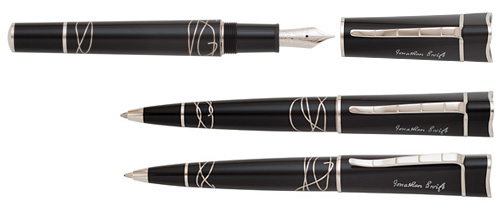 Montblanc Limited Editions - Jonathan Swift Writers Edition  - Year: 2012 - Black/Silver  - Edition: 1000 Sets - 3-Piece Set (Fountain Pen, Ball Pen & Mechanical Pencil)