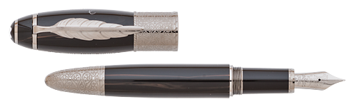 Montblanc Limited Editions - Daniel Defoe Writers Edition - Year: 2014 - Brown Woodgrain/Ruthenium  - Edition: 10,000 Fountain Pens - Fountain Pen