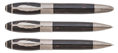 Montblanc Limited Editions - Daniel Defoe Writers Edition - Year: 2014(Reg: $2,850) - Brown Woodgrain/Ruthenium - Edition: 1000 Sets - Set-Fountain Pen, Ball Pen & 0.7mm Pencil