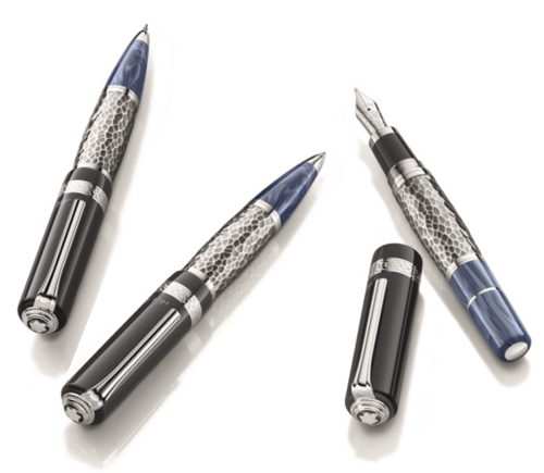 Montblanc Limited Editions - Leo Tolstoy Writers Edition - Year: 2015 - Hammered Silver Plate     - Edition: 900 Sets - Set-Fountain Pen, Ball Pen & 0.7mm Pencil