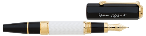 Montblanc Limited Editions -  William Shakespeare Writers Edition - Year: 2016 (Reg: $935) - Black and White/Gold Plating  - Edition: 8700 Pens - Fountain Pen
